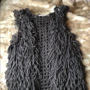 Gray shag vest perfect for gamedays